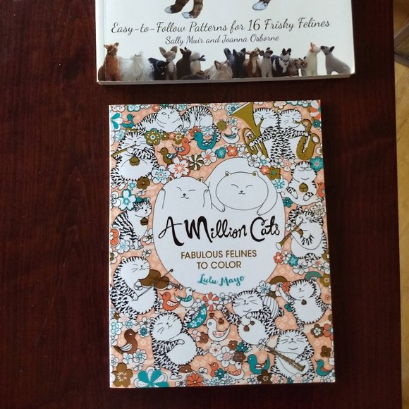 adult coloring book cats NWT